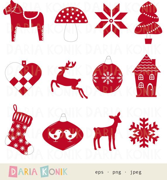 Scandinavian Christmas Clip Art Set with woven heart and dala horse by dariakonik