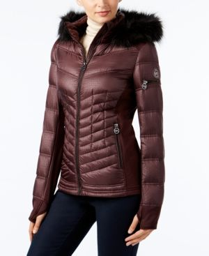 Michael Michael Kors Faux-Fur-Trim Mixed-Media Puffer Coat - Purple XXS