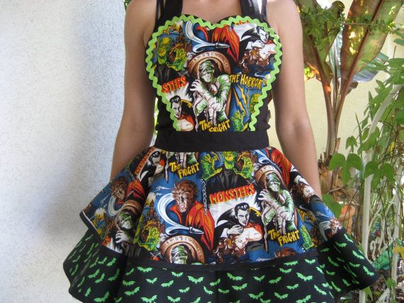 A Batty Halloween Apron With Monsters by ruffledfrenzy on Etsy, $52.99