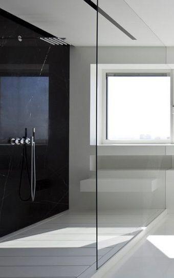 Shower with shelf