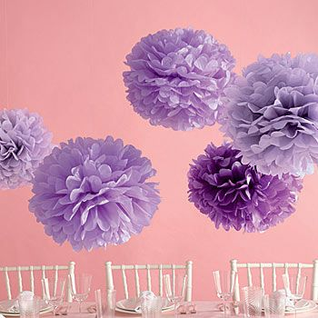 The Purple Tissue Paper Pom Poms are fun and festive party decorations in a beautiful shade of purple