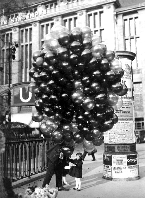Black and White photo of ballons