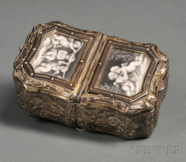 Continental Goldwashed Silver and Miniature-mounted Snuff Box