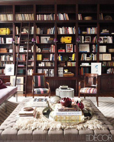 More BookshelvesBookshelves, Dreams Libraries, Elle Decor, Home Libraries, Ladders, Interiors, Living Room, Bookcas, Home Offices