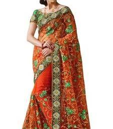 Buy Triveni Glamorous Orange Indian Traditional Wedding Wear Exquisite Saree TSVR2020 designer-embroidered-saree online