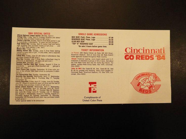 1984 Cincinnati Reds schedule