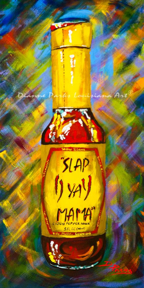 Awesome Sauce! Slap Ya Mama! - New Orleans Art Print, Hot Pepper, Louisiana Hot Sauces, New Orleans Food, New Orleans Artist, Dianne Parks
