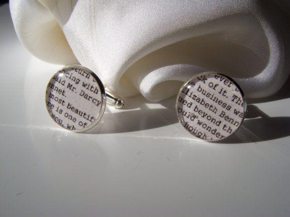 Pride and Prejudice Mr Darcy Cufflinks Silver by LiteratoShop, £15.00