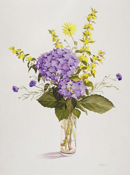 Картина Кристофера Райленда. Синяя гортензия и желтый вербейник. - ArtWork2.com