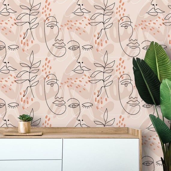 Peel And Stick Wallpaper Line Art Wall Mural Removable Wall Paper Self Adhesive Custom Wallpaper Temporary Wallpaper Neutral Beige In 2020 Peel And Stick Wallpaper Wall Murals Custom Wallpaper