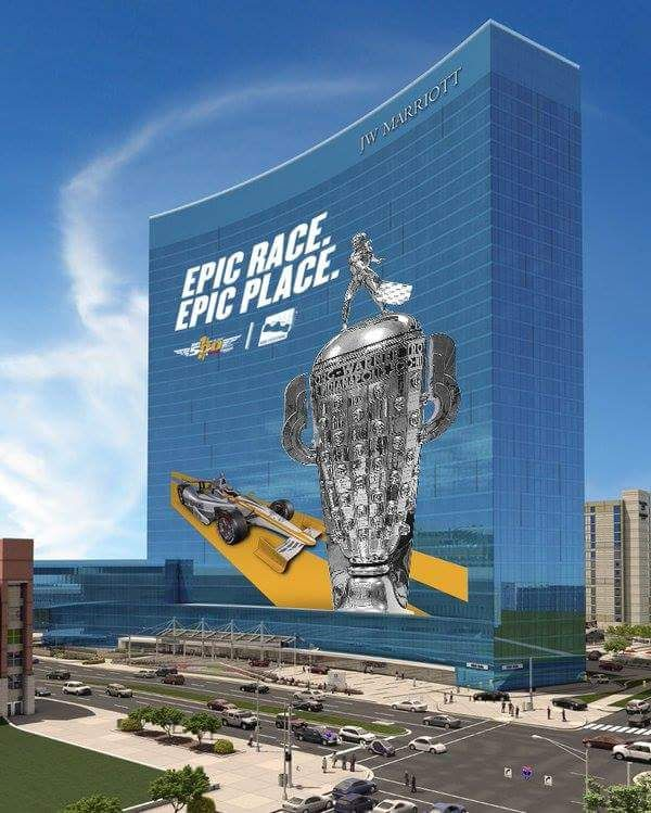 Marriott Banner celebrating the 100th running of the Indy 500