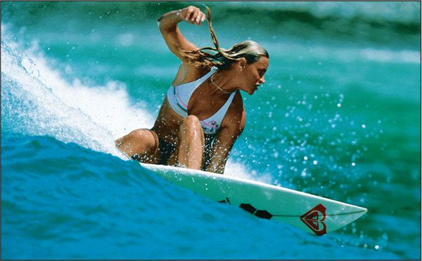 "The girl that paved the way for woman's surfing- stil got the best style.  Her advice ""Get low, study Tom Carrol!"""