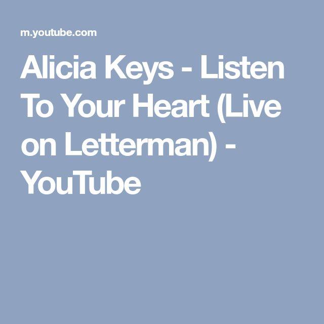 Alicia Keys - Listen To Your Heart (Live on Letterman) - YouTube
