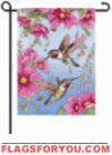 Hummingbirds With Pink House Flag - 4 left