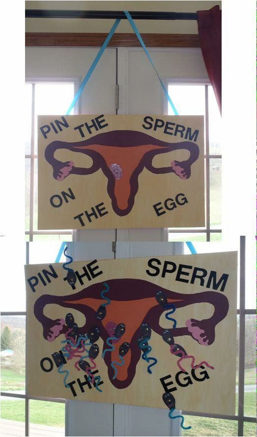 Pin The Sperm On The Egg Baby Shower Game.