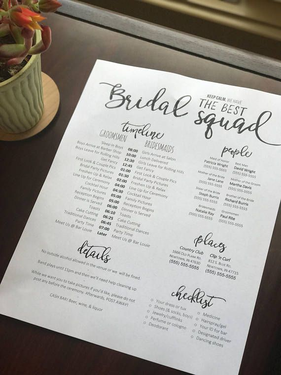 The day of the wedding can be hectic and the last person you want to bother is the bride. Download this template for a wedding timeline and phone list to give to your bridal party and key wedding day people. We have several designs to choose from and each is a little different. While the script headings are not editable - they can be swapped out for the various headings listed below. You will receive a second document with the extra headings included. Everything else is on the page is editabl...