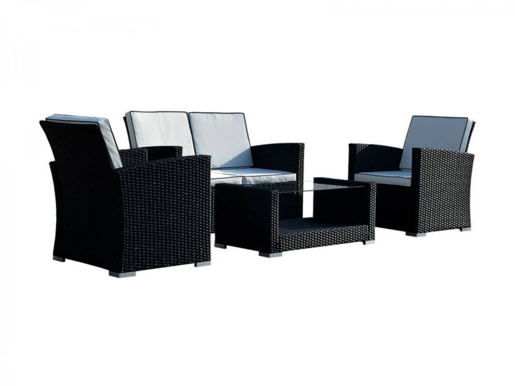 Marbella Rattan Garden Sofa Set in Black and Vanilla