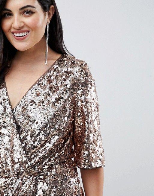 884cb36c965 TFNC Plus sequin kimono sleeve wrap dress in gold