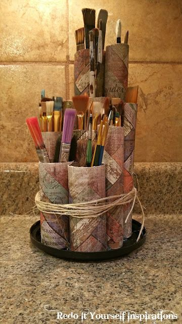 Paint Brush Holder: Recycled Paper Rolls