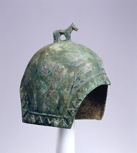Helmet with a Standing Horse; 7th century B.C.; Culture: Northeast China; Medium: Bronze