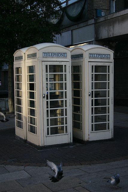 White telephone boxes, Hull, East Riding of Yorkshire, Yorkshire, England