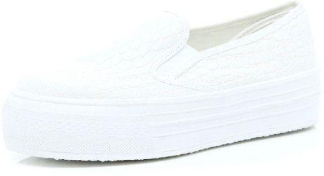 River Island White Slip On Flatform Plimsolls in White for Men