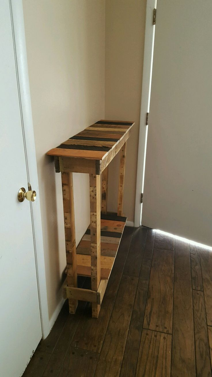 Here is the hall entry table I built all out of pallet wood.