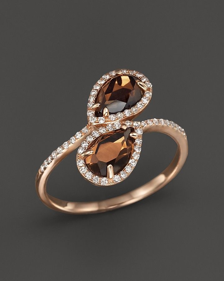 Smokey Topaz and Diamond Ring in 14K Rose Gold