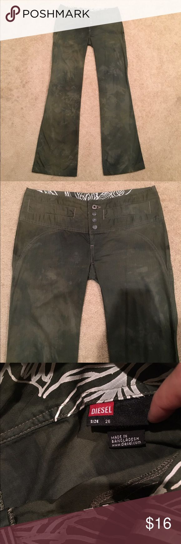 Diesel Pants Selling these great Diesel pants in dark Green. The color is intentionally made to look like this and they look amazing on. Flared leg and button closure. Only wore them twice... they are old school. Size says 26, however definitely fits closer to a 27. Diesel Pants Boot Cut & Flare