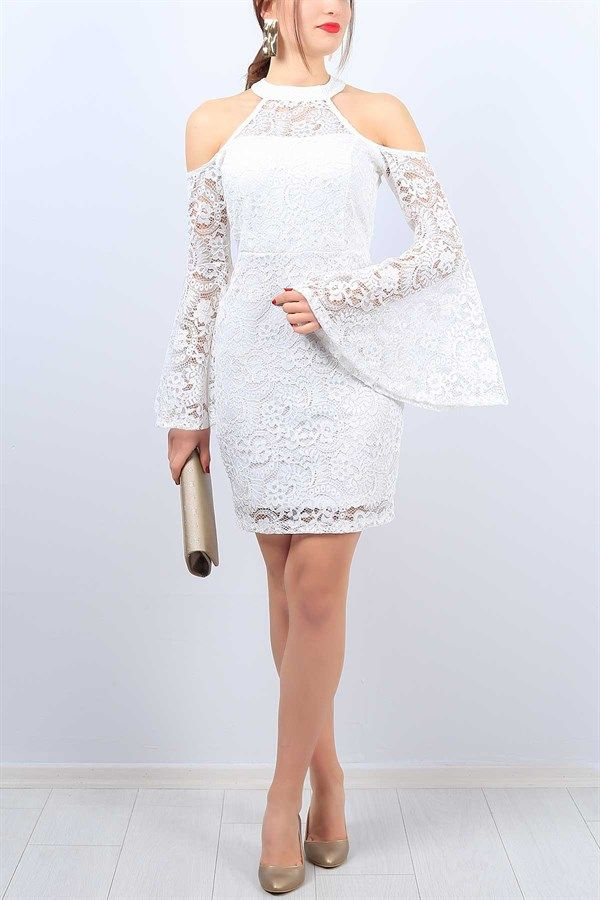 89 95 Tl Beyaz Omuzlari Acik Bayan Dantel Elbise 11308b Modamizbir Dantel Elbise Elbise Mezuniyet Elbiseleri