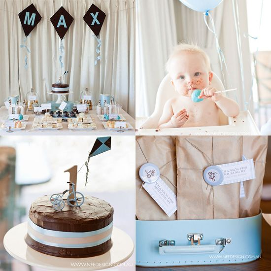Vintage Tricycle Birthday: Evoke nostalgia with a vintage-inspired birthday. Custom-printed party decorations and labels make this bash even more special.  Source: Style Me Gorgeous