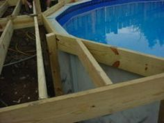 how to build an above ground pool deck - we have been talking about doing something like this, to help the boys get in and out of the pool.