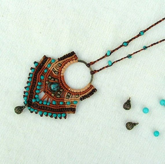 Micro macrame necklace - desert queen -  with brass beads and a dangle in gorgeous natural earthy brown colors