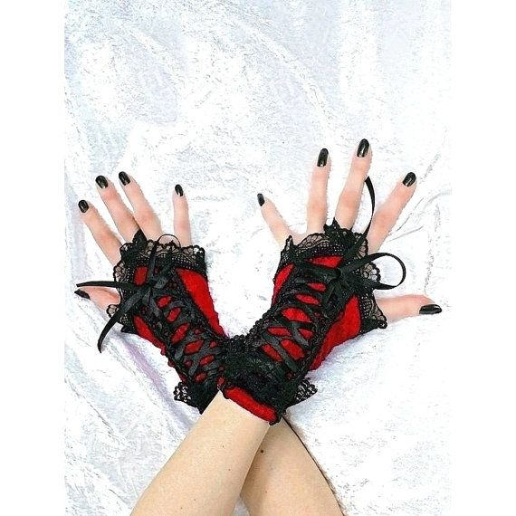 short fingerless gloves wrist warmers gothic  by FashionForWomen. https://www.etsy.com/listing/209683923/short-fingerless-gloves-wrist-warmers?ref=shop_home_active_11