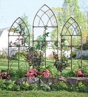 Pipe Fitting Cathedral Style Garden Trellises from Plow & Hearth