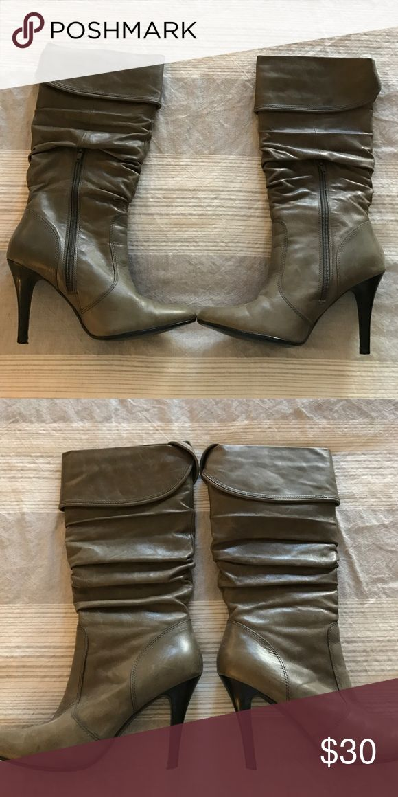 Grey Aldo Stiletto Boots Lightly worn grey leather boots. Hits just below the knee with a zipper on the side. Aldo Shoes Heeled Boots