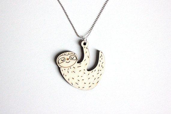 Faultier Halskette hölzerne Faultier Halskette Holz von Siriluna