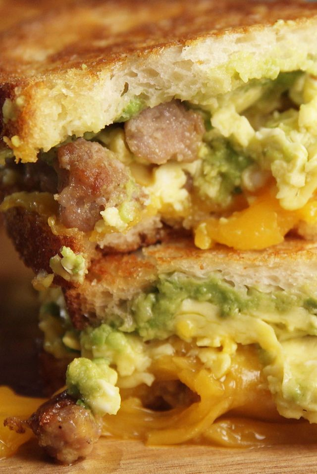 This Sausage-Avocado Breakfast Grilled Cheese Slays BECs