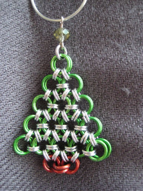 Chainmaille Christmas Tree Ornament by SaltCityChains on Etsy