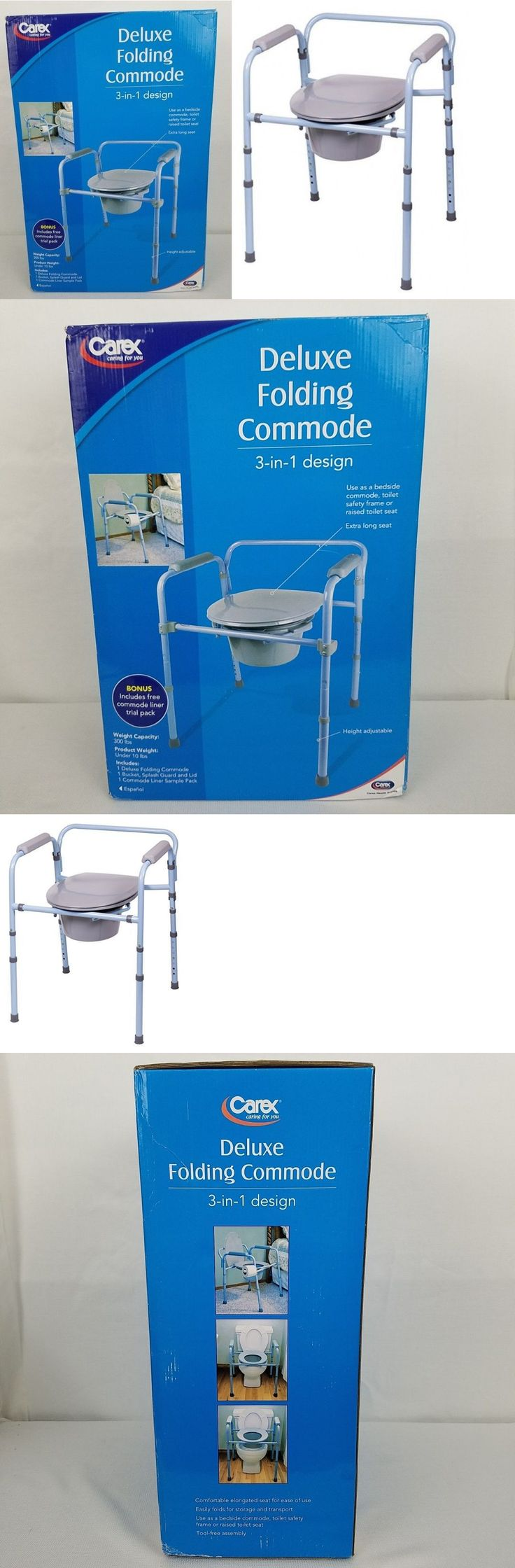 Portable commode folding bedside handicap adult toilet potty chair - Toilet Frames And Commodes Carex Deluxe Folding Commode 3 In 1 Design X Long