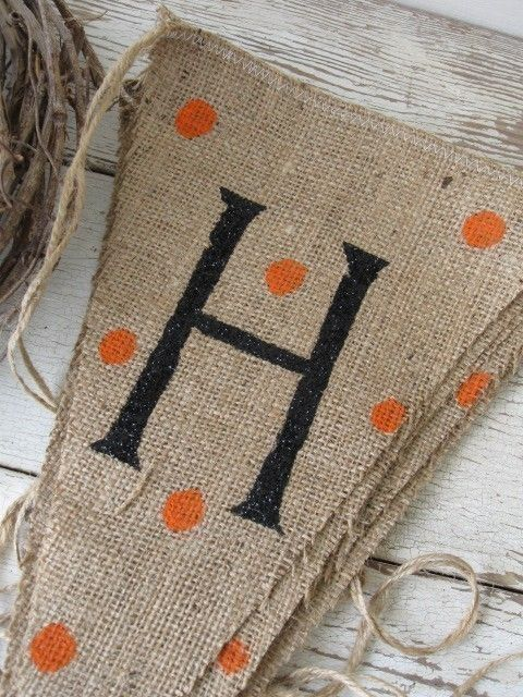 Fall Glitter Burlap Banner Pennant Bunting by funkyshique