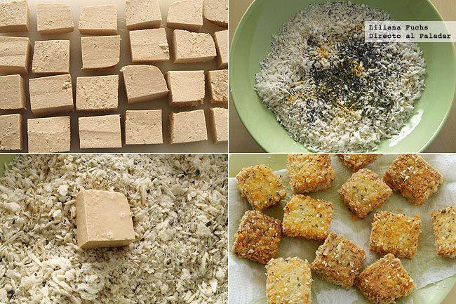 Bocados de tofu crujiente con sésamo. Pasos de la receta