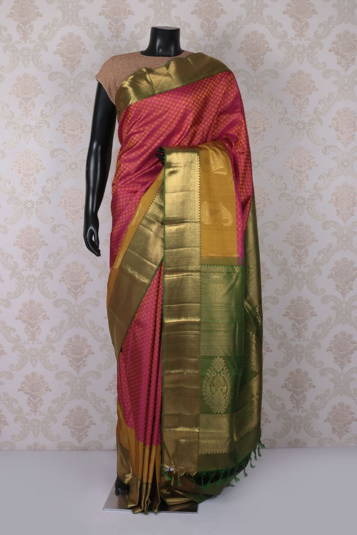 #Purple multicoloured pure kanchipuram silk #angelic #saree with antique #gold multicoloured border -SR11522
