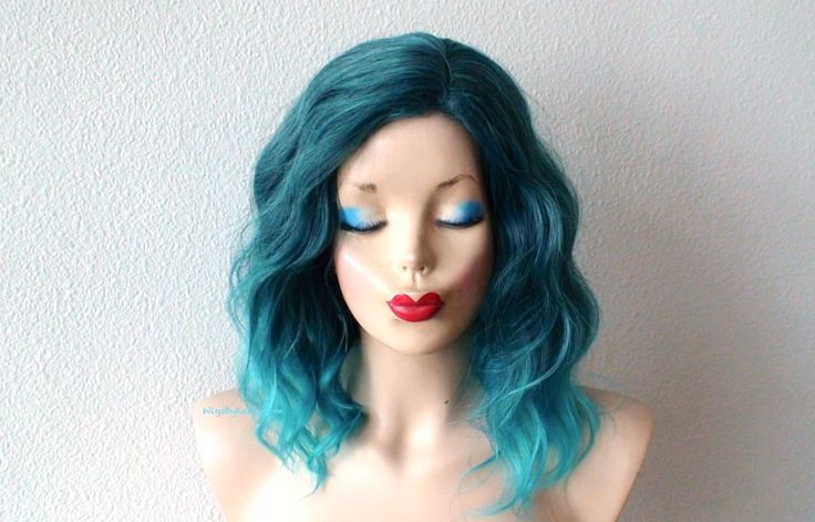 Ombre wig. Short wig. Pastel Teal ombre wig. Beach waves hairstyle wig. Blue wavy hair wig. Durable synthetic wig for daily use or Cosplay. by kekeshop on Etsy https://www.etsy.com/listing/258113557/ombre-wig-short-wig-pastel-teal-ombre