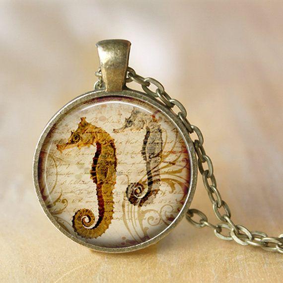 SEAHORSE Necklace Art Pendant Necklace by LiteraryArtPrints