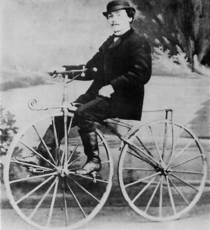 This guy was the first guy to patient the bicycle, later someone made rubber tires to make the ride a smoother one...