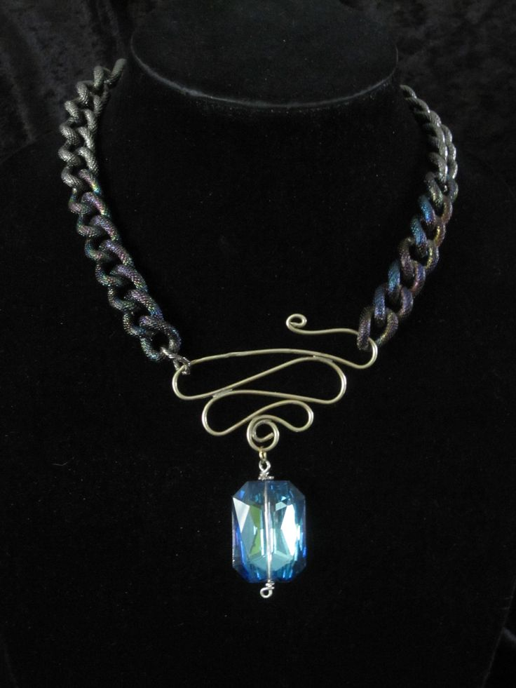 Titanium Chain With German Silver Wire and Crystal Pendan