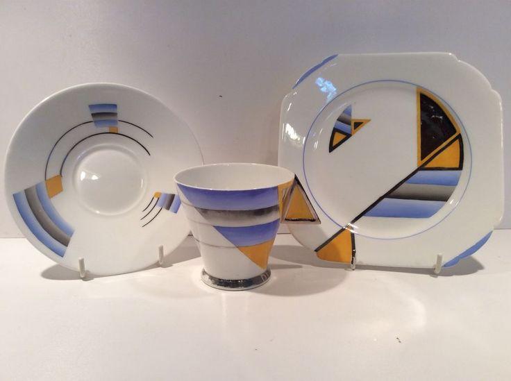 RARE Shelley Art Deco Mode Shape Trio   eBay