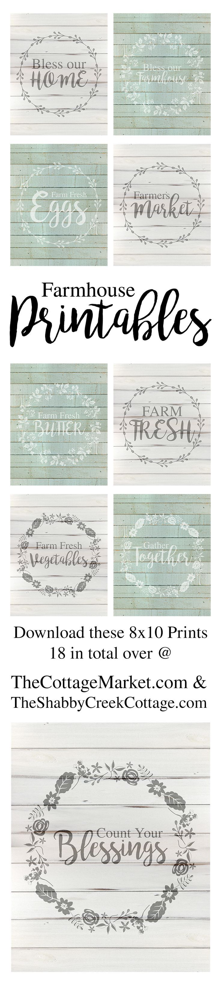 I have to tell you my friends…I am really excited about today's Farmhouse Free Printables (8 X 10)!  We have so many Farmhouse Fans here at The Cottage Market…I know that the majority of you are going to love these!  They were made with YOU in mind!   There is a collection of all Farmhouse …