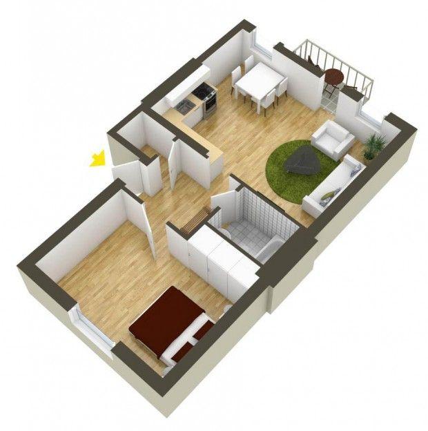 ผังภายในบ้าน 1 ห้องนอน 평면도 Pinterest 평면도
